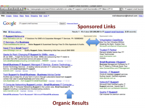 Search Engine Results Page (SERP) showing the organic results and the sponsored links sections.