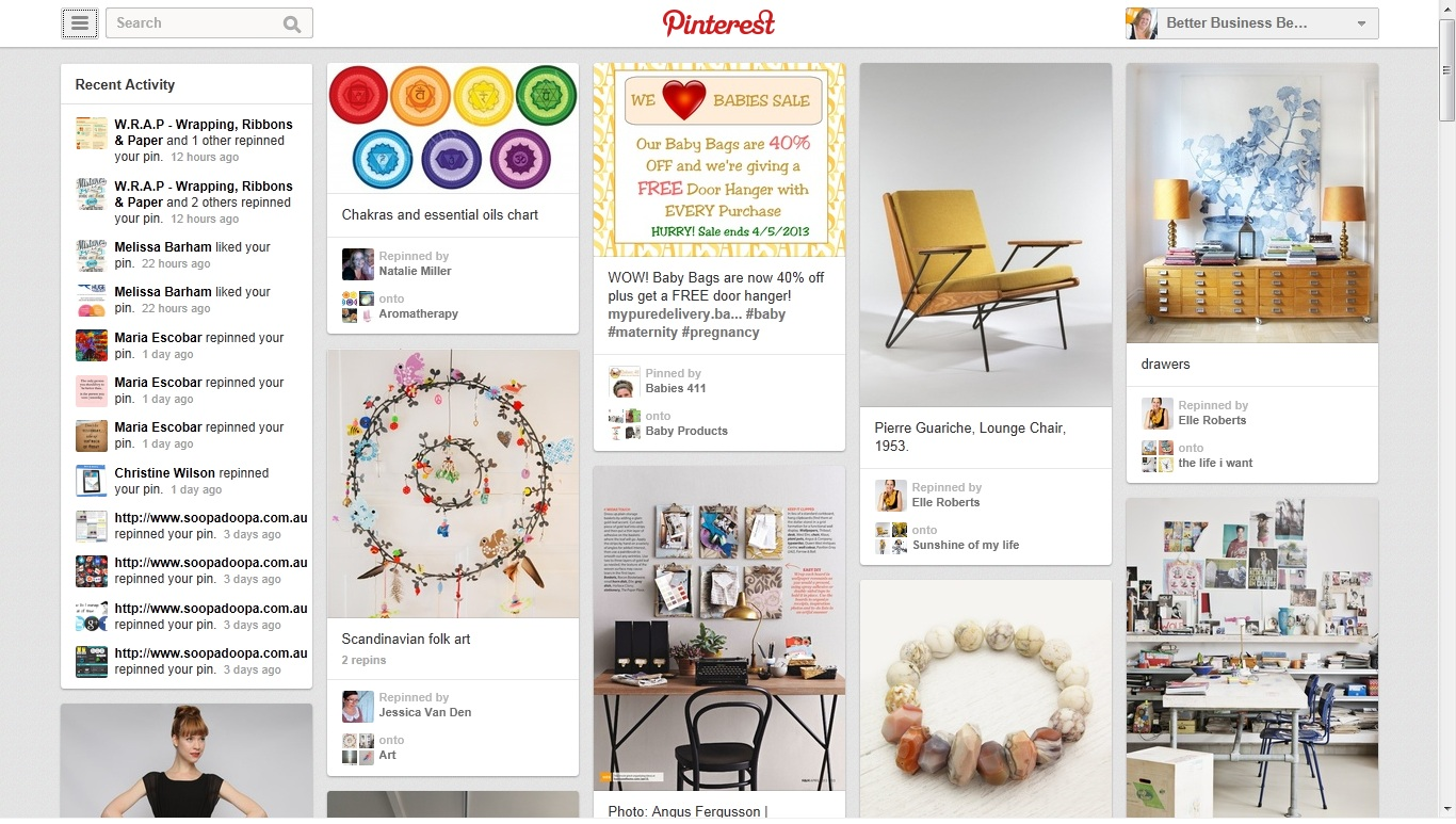 New Pinterest Home Page