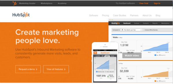 The Hubspot Website uses the full width of the screen